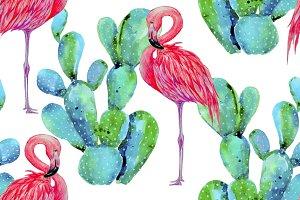 Watercolor flamingos,cactus pattern