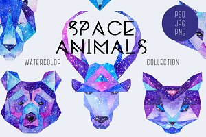 Watercolor Space Animals
