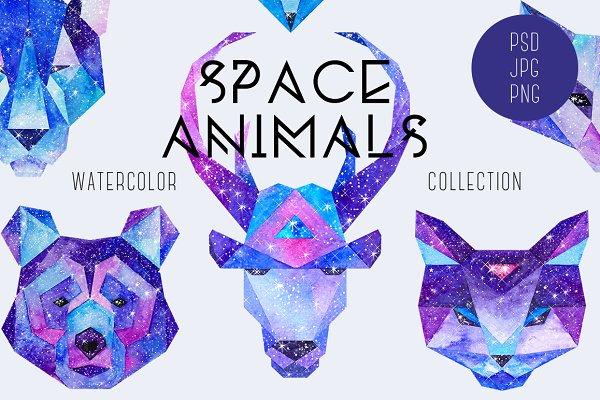 Watercolor Space Animals