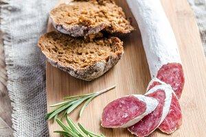 Slices of spanish salami