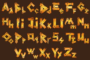 Alphabet made of planks