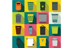 Trash can icons set, flat style