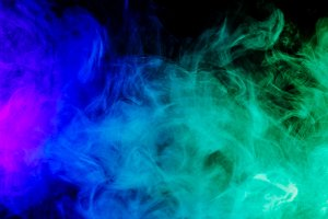 Abstract blue and green smoke hookah