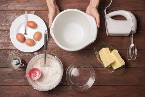 Cooking dessert ingredients hands
