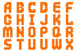 Alphabet abstract pixel vector