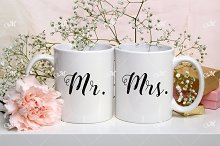 Two Mugs Mockup Stock Photo