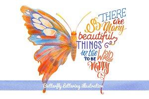 Lettering in butterfly silhouette