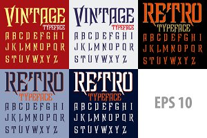 Retro vector typeface set