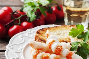Antipasto with shrimps