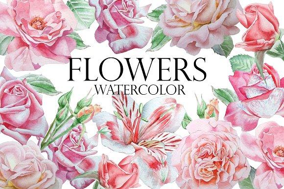 Flowers. Watercolor. - Objects