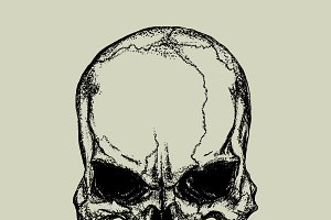 Evil skull in dotted technique