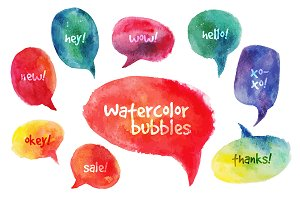 Vector Watercolor Speach Bubbles