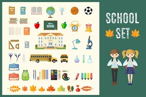 Set of Flat School Icons