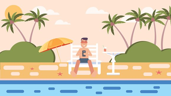Sea Holiday.Man resting on the beach - Illustrations