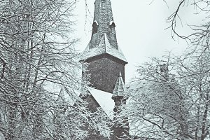 Vintage Winter Church