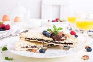 Breakfast toast with chocolate nut paste