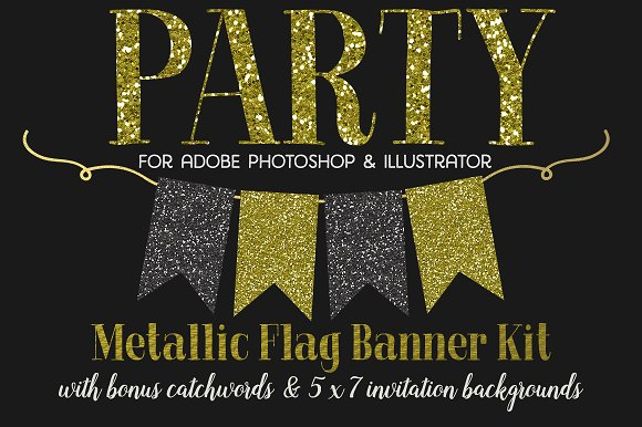 Flag Banner Clipart + BONUS! in Graphics