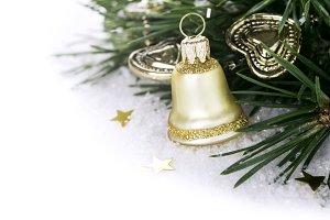 Christmas composition with golden bell