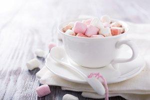 Hot chocolate with mini marshmallows