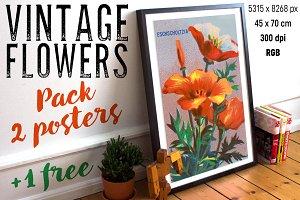 VINTAGE FLOWERS PACK POSTERS + BONUS