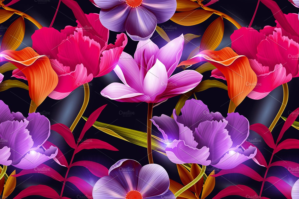 tropical flowers and leaves graphic patterns creative market