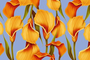 Seamless calla lilly flower pattern