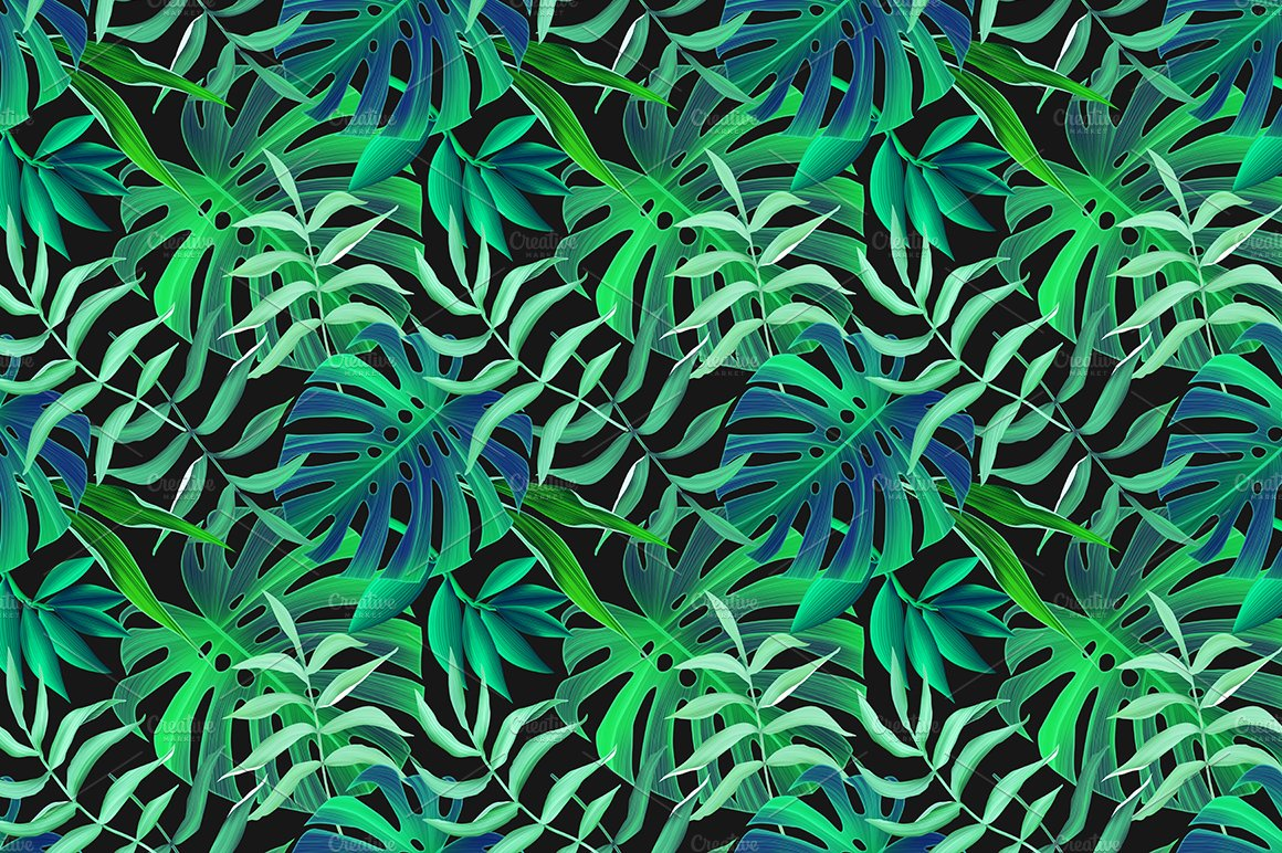 Aninimal Book: Tropical leaves seamless pattern ~ Graphic Patterns ...