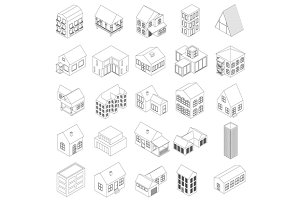 House icons set, isometric 3d style…