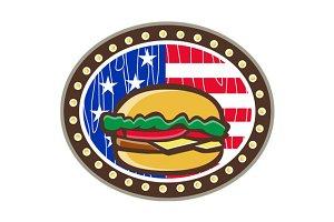 American Cheeseburger USA Flag Oval