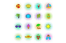 Summer icons set, pop-art style