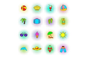 Summer icons set, pop-art style