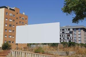 Blank ad against buildings