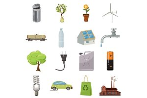 Ecology icons set, cartoon style