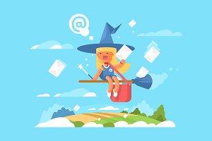 Postal fairy on a broom