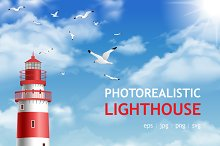 Realistic lighthouse poster set