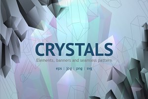 Quartz crystals vector set