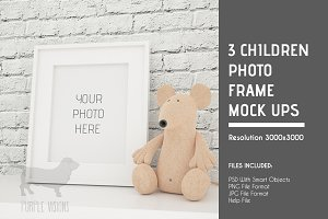 3 Children Photo Frames Mock Ups