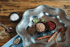 Spices on the Wooden Table