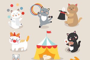 Circus playing cats vector