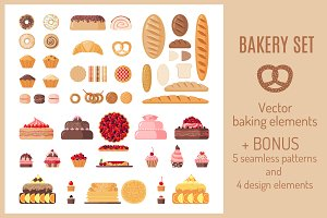 Set of Flat Bakery Icons