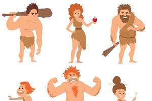 Neanderthal evolution people vector