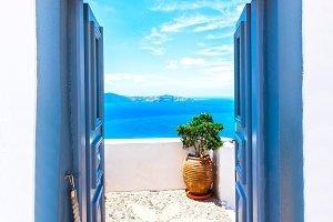View in sea gate, Santorini