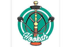 Color vintage hookah emblem