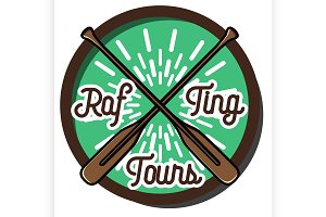Color vintage rafting emblem