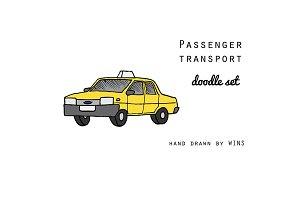 Passenger transport Doodle set