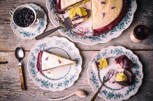 Blueberry cream cake slice