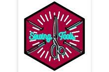 Color vintage sewing emblem