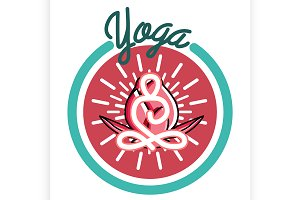 Color vintage yoga emblem