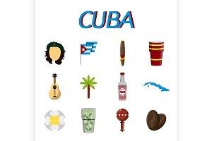 Cuba flat icon set