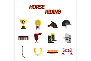 Horse riding flat icon set